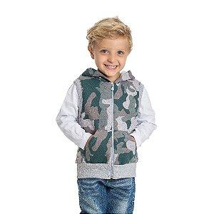 Colete Infantil Camuflado com Capuz  Verde