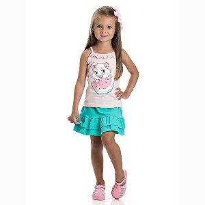 Conjunto Saia e Blusa de Alcinha Gatinha Rosa