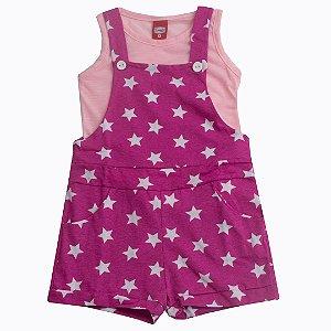 Conjunto Jardineira Star Rosa