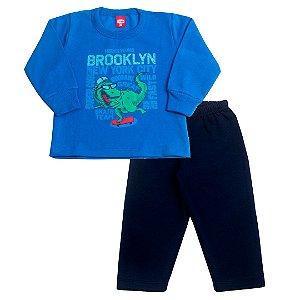 Conjunto Moletom Dino Skate Azul
