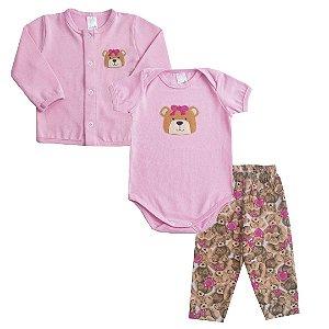 Tri Conjunto Ursinha Rosa Bebê