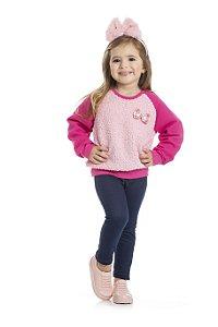 Conjunto Moletom Pink e Calça Cotton Jeans