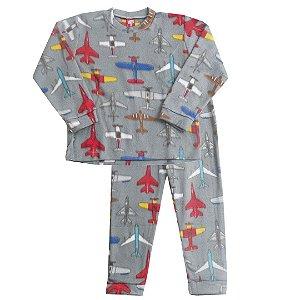 Pijama Soft Avião Chumbo