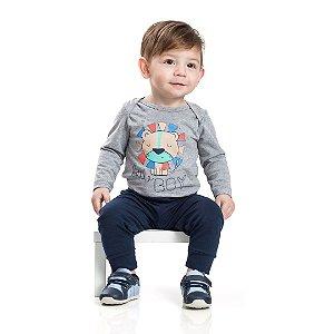 Conjunto Baby Little Boy Mescla Marinho
