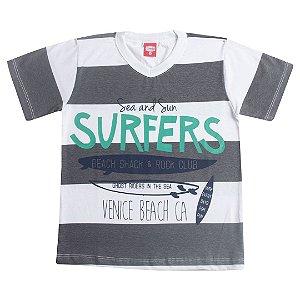 Camiseta Infantil Surf Cinza