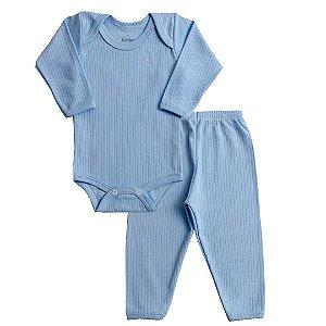 Conjunto Body Canelado Azul