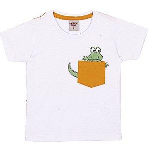 Camiseta Dino com bolso Branca
