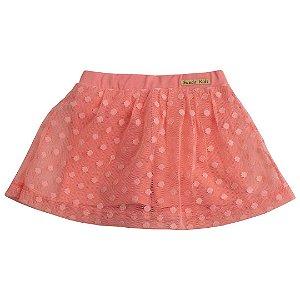 Shorts Saia Tule Poá Coral
