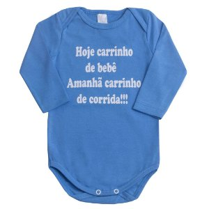 Body Manga Longa Azul - Hoje Carrinho de Bebê
