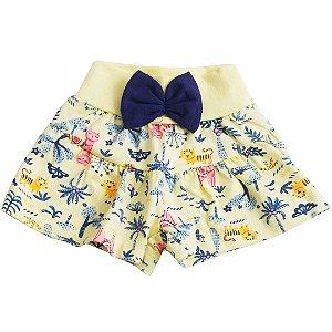 Shorts Franzido Com Laço Amarelo