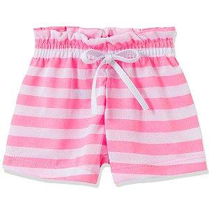 Shorts Fru-Fru Listrado Rosa e Branco