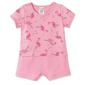 Macaquinho Rosa com Estampa Rotativa de Flamingos
