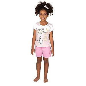 Conjunto Pijama Gatinha Rosa
