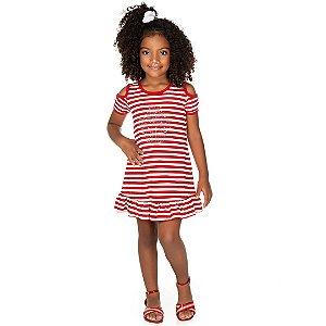 Vestido Listrado Cupcake Vermelho