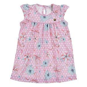 Vestido Baby Crepe Florzinhas Rosa