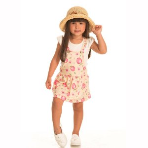 Conjunto Kids Jardineira Natural