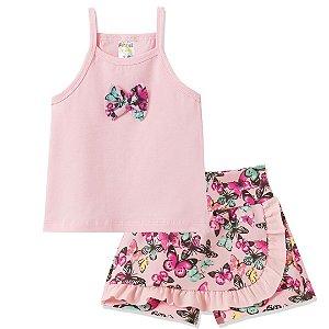 Conjunto Kids Borboletas Coloridas Rosa