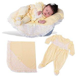 Kit Maternidade Macacão com Manta Amarelo