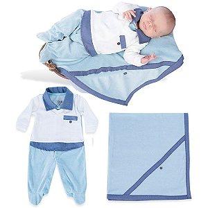 Kit Saída Maternidade Macacão com Colete e Manta de Plush Azul