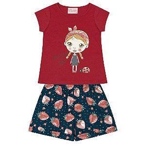 Conjunto Baby Menina Moranguinho Vermelho