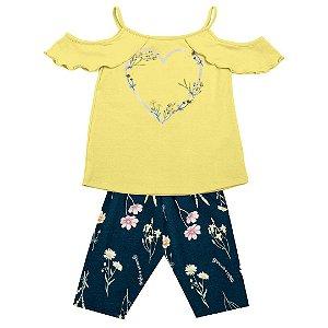 Conjunto Infantil Flowery Heart Amarelo