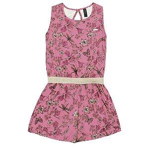 Macaquinho Floral Rosa