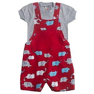 Conjunto Jardineira Elefantinho Vermelho