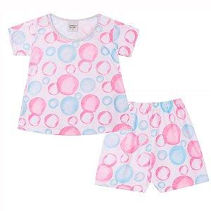 Conjunto Pijama Bolhas Branco