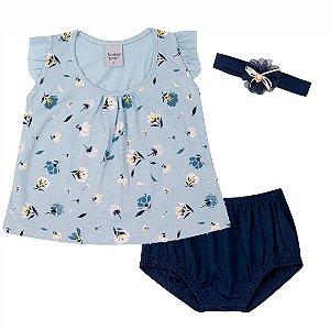 Conjunto Blusa com Cobre Fralda e Tiara Azul
