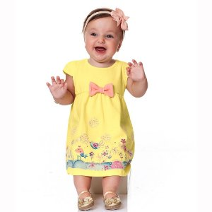 Vestido Passarinhos Amarelo