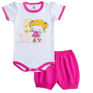 Conjunto Body Pequena Menina Pink