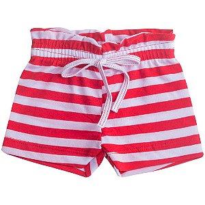 Shorts Fru-Fru Listrado Vermelho e Branco