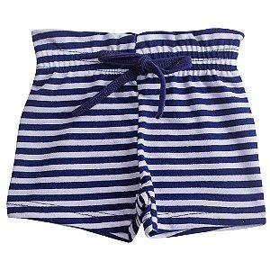 Shorts Fru-Fru Listrado Marinho e Branco