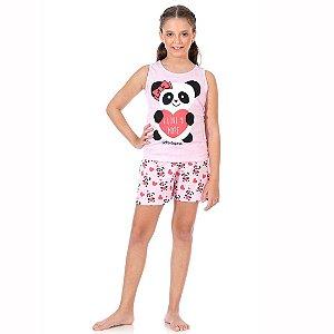 Conjunto Pijama Panda Brilha no Escuro Rosa