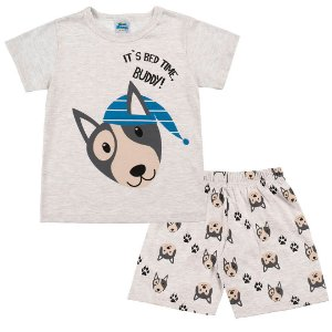 Conjunto Pijama Cachorrinho Brilha no Escuro Mescla