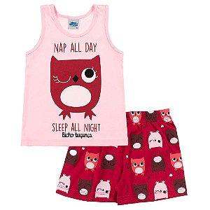 Conjunto Pijama Corujinha Brilha no Escuro Rosa
