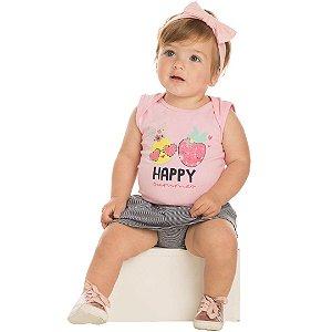 Conjunto Body Regata Happy Rosa