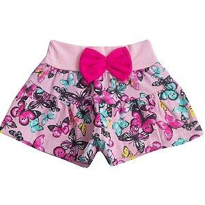 Shorts Bebê Menina Borboletas Rosa