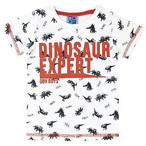 Camiseta Bebê Menino Dinossauro Branco