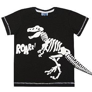 Camiseta Kids Menino Brilha no Escuro Dinosaur Preto