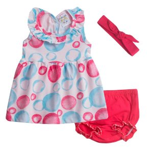 Conjunto Vestido Bebê Menina Bolhas Vermelho