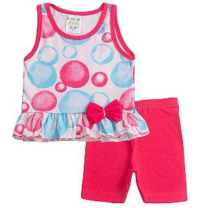 Conjunto Regata Bebê Menina Bolhas Vermelho