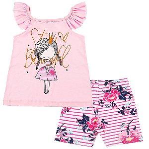 Conjunto Kids Menina Princesa Rosa