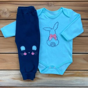 Conjunto Longo Baby Azul Páscoa