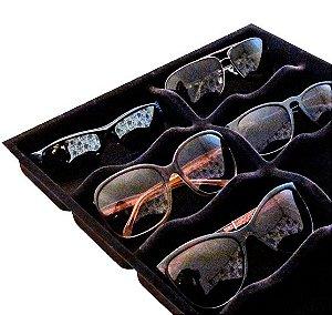 Organizador de Óculos Para Gaveta Preto Aveludado 420x320x35mm