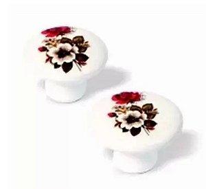 Puxador Flor Vermelha Porcelana