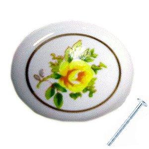 Puxador Flor Amarela Porcelana 21900
