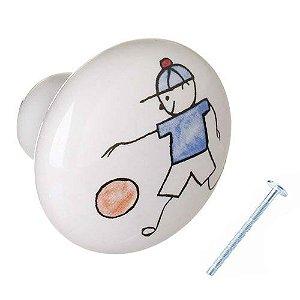 Puxador Menino Futebol Cerâmica IL 7054
