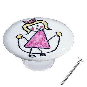 Puxador Menina Corda Rosa Cerâmica IL 7056