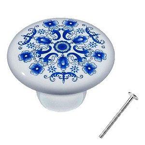 Puxador Estampa Azul Cerâmica IL7067
